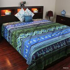 Kalamkari Print Cotton Floral Tapestry Wall Hang Thin Bedspread Queen Blue Green