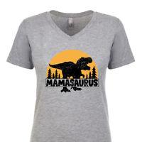 Mamasaurus Women's V-Neck T-Shirt Funny Dinosaur Mom Family Mother's Day Gift