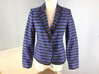 Ann Taylor Loft S 6 Blue Black Stripe Blazer jacket Wow Schoolboy Career Casual