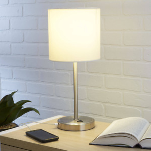 Table Lamp with USB Port Modern Nightstand Bedside Lamp W/ Charging Port Silver
