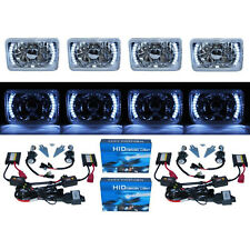 "4X6"" White LED Halo Angel Eye Headlight 6K 6000K HID Headlamp Light Bulbs Set"