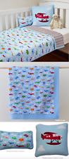 3 Pc Linens n Things Boys Blue Cot Crib Quilt Set Planes Nursery Baby Blanket