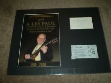 LES PAUL Signed INDEX Card 3x5 MATTED 11X14 PHOTO TICKET STUB VINTAGE 1986