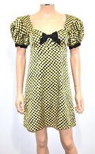 BETSEY JOHNSON Black Yellow Polka Dot Silk Puff Sleeve Baby Doll Goth Dress - 4