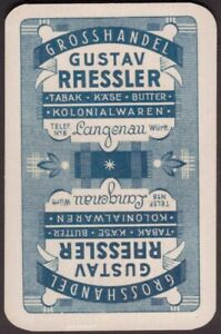 Playing Cards Single Card Old Vintage RAESSLER German LANGENAU Shop Advertising