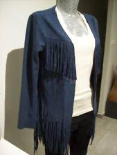 gilet femme taille M L 38 40 42 bleu viscose suédé suédine cardigan jacket woman