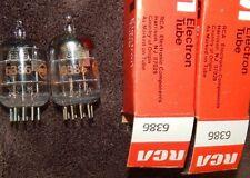 NOS NIB PAIR 6386 RCA TUBES 3 MICA BLACK PLATES VINTAGE USA *MINT CONDITION RARE