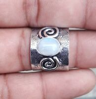 Rainbow Moonstone 925 Sterling Silver Band Ring Meditation Ring Size SRR35