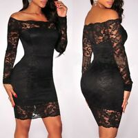 Sexy Women Bodycon Off Shoulder Lace Evening Party Long Sleeves Short Mini Dress