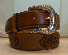 Justin New Brown Concho Leather Tooled Belt  Size 36 C11514 NWT