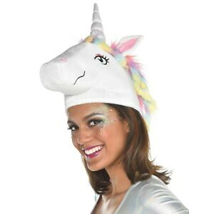 UNICORN PLUSH HAT W/ SPARKLY HORN ~ Halloween Costume Birthday Party Favor Dress