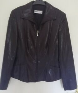 Gerry Weber Black Snakeskin Shiny Zip Up Lined Jacket Size 10