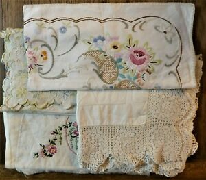 Vintage handmade floral embroidered purse tray dress cloth linen textiles fabric