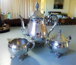 SILVER PLATED TRIO - COFFEE/TEA POT, SUGAR BOWL & CREAMER - GALLEON - NEVER USED