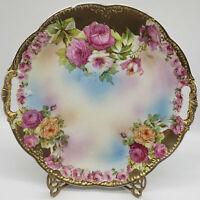 "Vintage Royal Vienna Platter w/handles 11"" Gilded Gold Roses"