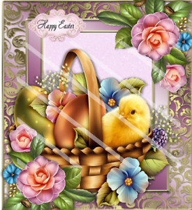 """Handmade pretty 8""""x8"""" plain Easter eggs with chic in basket card"""