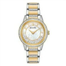 Bulova 98L245 Women's Crystal Turnstyle MOP Dial Two Tone Watch
