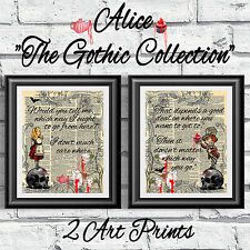 Art print on original book page dictionary Gothic Alice in Wonderland Mad Hatter