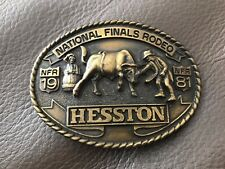 1981 National Finals Rodeo 'Hesston' Brass Collectors Belt Buckle *