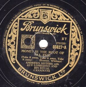 1945 ANDREWS SISTERS 78  MONEY IS THE ROOT OF ALL EVIL / JOHNNY FEDORA  03627 E-