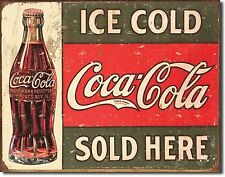 "COCA COLA ICE COLD SOLD HERE SURF SURFING SURFBOARD FIN 12.5"" X 16"" METAL SIGN"