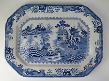 Monumental Mason's Ironstone blue & white 'Turners Willow' pattern platter 1920