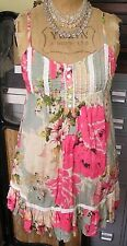 STUNNING PINK & PALE GREEN / CREAM FLORAL TOP BY MISS SELFRIDGE - SIZE 8 / 10