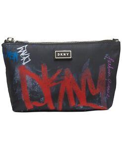 *DKNY Gigi Cosmetic Pouch Bag Black Graffiti NEW NWT $78