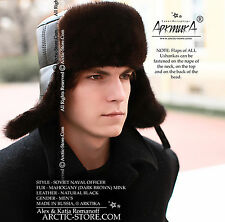 MAHOGANY BROWN MINK MEN'S SOVIET NAVAL OFFICER FUR HAT ushanka chapka fourrure