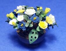 Miniature Dollhouse Flowers Plant Yellow White & Blue 1:12 Scale New