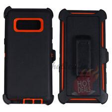 For Samsung Galaxy Note 8 Black/Orange Defender Case w/ Tempered Glass