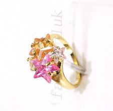 De mujer 24K oro amarillo CZ Cúbico Compromiso Navidad Brillante Rosa Anillo L
