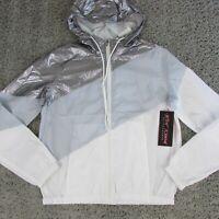 Betsey Johnson Colorblock White Combo & Gray Windbreaker Jacket Women's Medium
