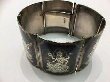Vintage Serling Silver Niello Six Paneled Cuffed Bracelet 63.8gm