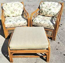 3 Pc ACACIA HOME & GARDEN Boho Chic Bamboo Rattan LOLITA Lounge Chairs + Ottoman