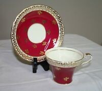Vintage Aynsley Red Gold Cup & Saucer Set - England - Bone China