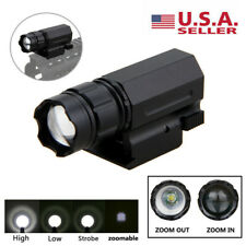 3000lm Zoomable Gun Lamp Led Flashlight Torch Compact Rail Mounted 20mm Us Stock