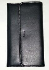 Compagnon de voyage femme en cuir noir FA903 - Porte cartes- chèquier - CADEAU