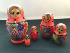 Matryoshka Babushka Doll Small Red & Pink - 5 pcs. (2016A)