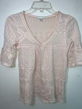 Kimchi & Blue Women's Nude Lace See Through Half Sleeve Size Small Made in USA