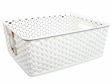 x3 Curver Nestable Rattan Basket Off White/Cream 8L Storage