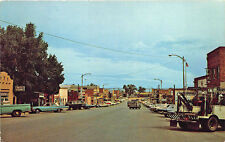 Gillette Wy Street View Store Fronts Tow Truck Wrecker Old Cars Postcard