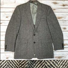 Haggar Men's 38 Vintage Gray Herringbone Wool Tweed Blazer Jacket Sport Coat