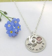 Personalised 16th Birthday Name Birthstone Necklace Gift Box