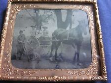 1/6 Tintype 3 Women in Horse Drawn Wagon, Boy w/Bicycle Mat and Frame