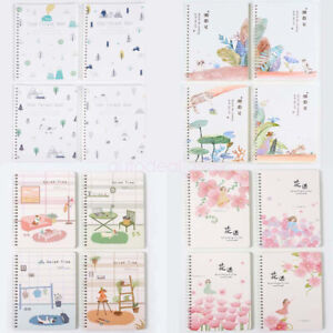 Flower Cover 4Pcs A5 Spiral Coil Journals Diary Ruled School NoteBook 60 Sheets