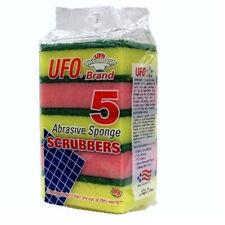 5 PCS UFO ABRASIVE SPONGE SCRUBBERS SCRUB SCOURER Wash Clean Dish 2 Sides BN-513