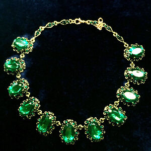 18.7 CT Oval Emerald Statement Necklace Yellow Gold Filled For Woman Gift A73