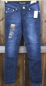 TEN 25 BLUE GOLD GEM POCKETS LOW RISE DENIM SKINNY JUNIORS JEANS 13/14 33 NEW