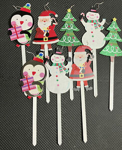 Pier 1 Imports Christmas Lawn Décor Set Of 8 Wooden Holiday Characters